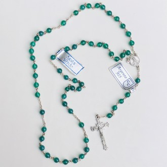 Rosary in silver and small green agate