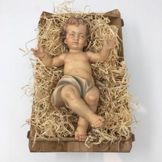 Gesù Bambino in legno barocco con culla