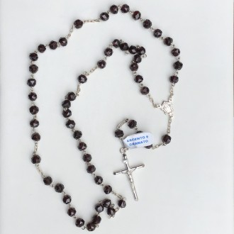 Rosary in silver and faceted garnet