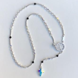 White Swarovski neck rosary