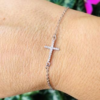 Bracciale croce argento e zirconi