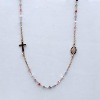Girocollo rosario in argento rosa e cristallo multicolor
