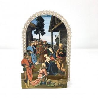 Biglietto auguri Natale presepe Perugino pop up merlettato