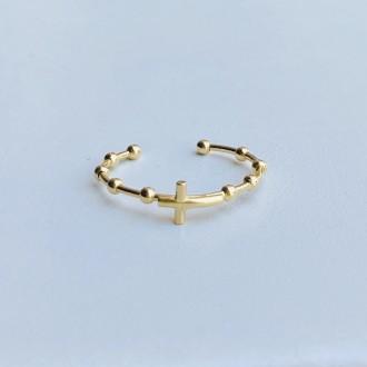 Anello rosario con croce micro oro