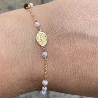 Bracciale rosario in oro e perle