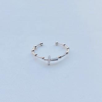 Anello rosario micro croce oro bianco