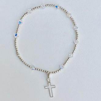 Bracciale rosario elastico decine bianche