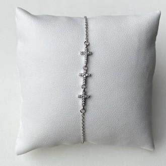 Bracciale croci argento e zirconi