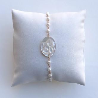 Bracciale Ti tengo per mano rosario - Perla