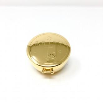 Teca in ottone dorato con simbolo IHS alta