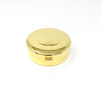 Teca in ottone dorato con simbolo IHS grande