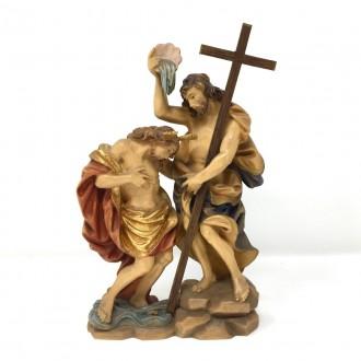 Statua Battesimo di Gesù in legno