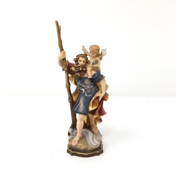 Statua San Cristoforo in legno cm 12