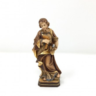 Statua San Giuseppe lavoratore in legno cm 12