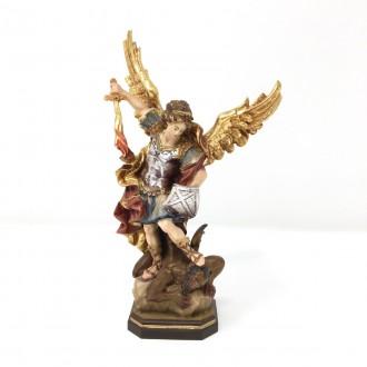Statua San Michele Arcangelo in legno cm 15