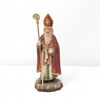 Statua San Nicola Santa Claus in legno intagliato a mano