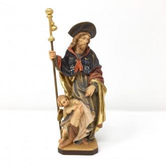 Statua San Rocco in legno cm 20