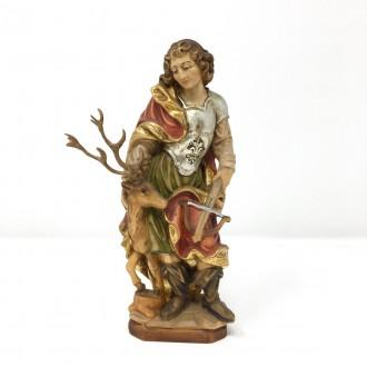 Statua San Uberto in legno cm 20