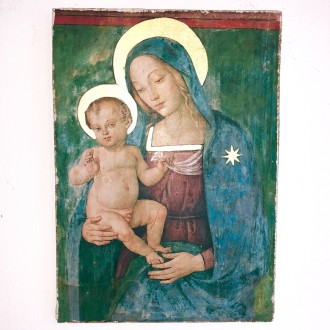 Affresco Madonna con bambino Pinturicchio Spello