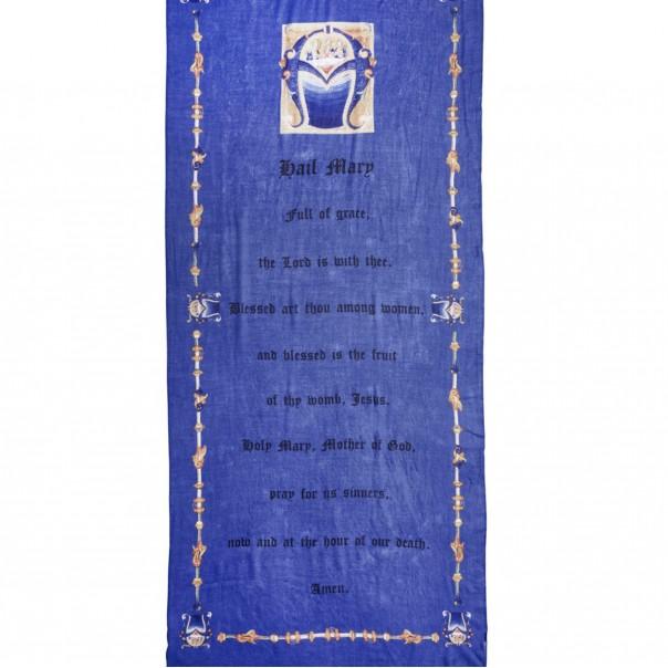 sciarpa in cashmere con ave maria inglese arcaico
