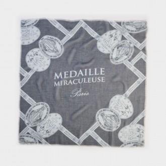 foulard con stampa otto medaglie miracolose grigio