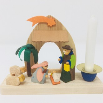 Natività presepe in legno con candela
