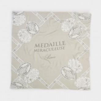 foulard con stampa otto medaglie miracolose beige